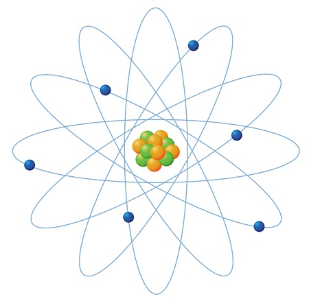 Illustration of atom structure on white Vector