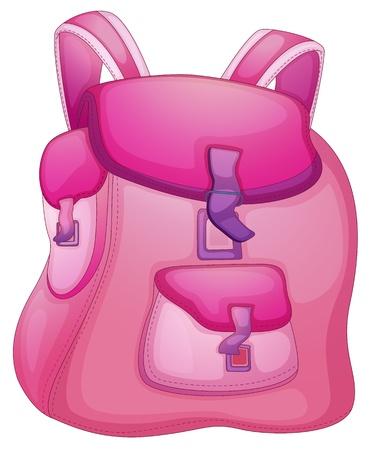 empacar: Ilustraci�n de una bolsa de la escuela en blanco Vectores