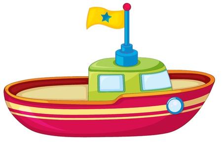 tug: Illustrazione di una barca giocattolo su bianco Vettoriali