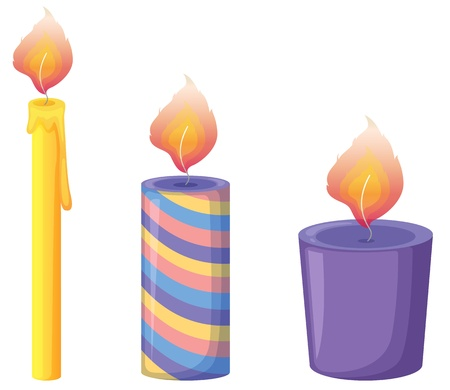 lit: Illustration of three candles on white