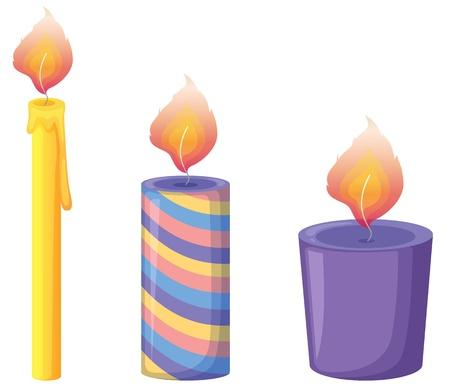 grande e piccolo: Illustrazione di tre candele su bianco
