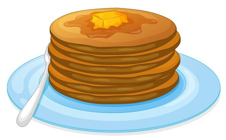 Illustration of pancakes and syrup Vector