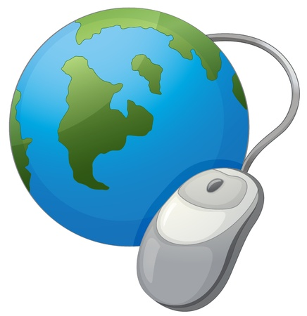 mouse click: Illustration  Earth and mouse internet icon Illustration