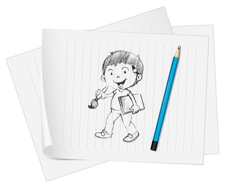 Boy sketched onto a piece of paper Vector