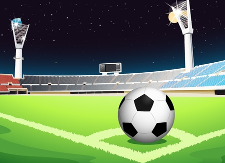 Ilustración de una pelota de fútbol en el estadio Ilustración de vector