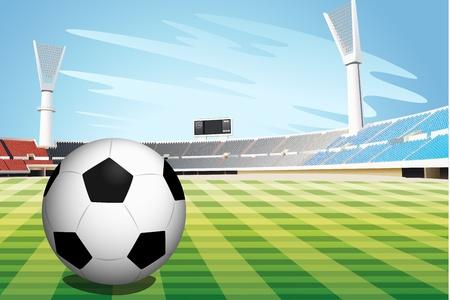 Illustratie van een voetbal in het stadion Vector Illustratie