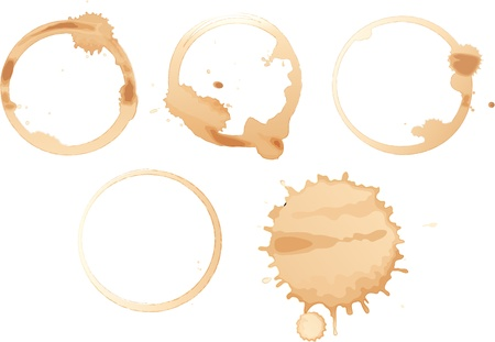 Illustration of coffee stains on white Vector