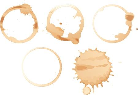 manchas de cafe: Ilustraci�n de las manchas de caf� sobre fondo blanco Vectores