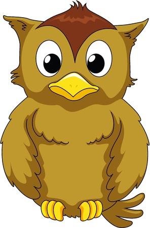 animated action: Illustration of wise owl on white
