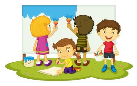 Illustratie van vier kinderen schilderen