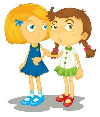 entre filles: Illustration de deux amis proches