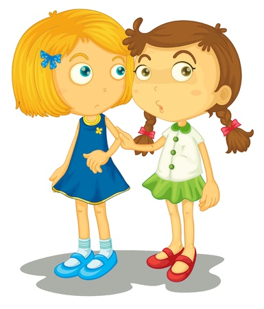 young girl: Illustration of two close friends Illustration