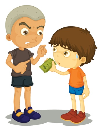 Illustration of a bully taking money Vector