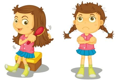 Ilustración de una niña limpia y sucia
