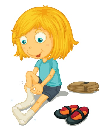 dressing: Illustration of girl putting on shoes