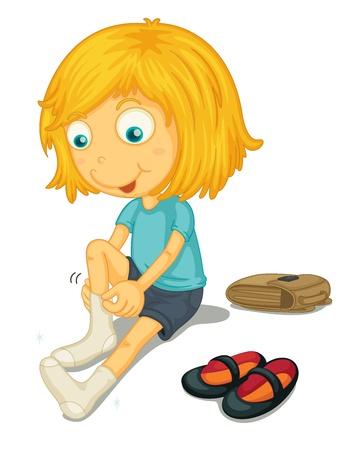 zapatos escolares: Ilustraci�n de una ni�a de ponerse los zapatos