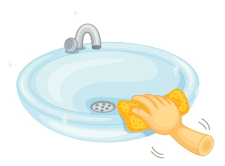 sink drain: Illustration of cleaning a basin Illustration