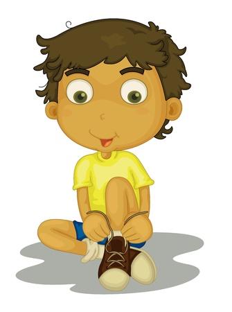 Illustratie van de jongen te zetten schoenen aan Vector Illustratie