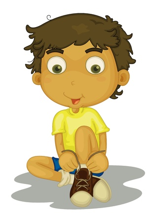 shoes cartoon: Illustration of boy putting shoes on
