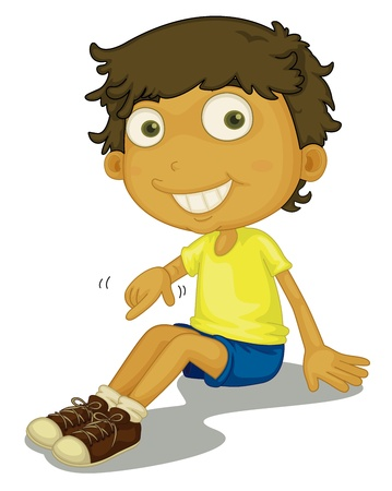 boy sitting: Illustration of boy putting shoes on