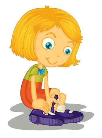 to fasten: Illustration of girl with shoes Illustration