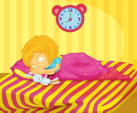 dormir habitaci�n: Ilustraci�n de dormir linda chica