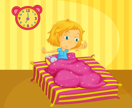 up wake: Illustration of cute girl waking Illustration