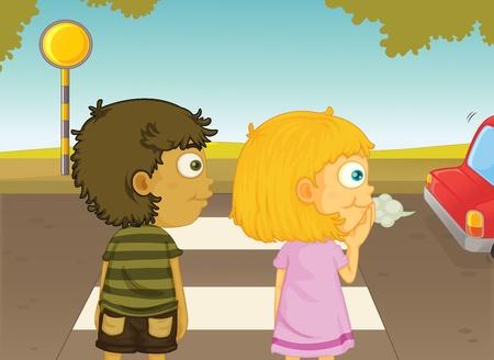 Illustratie van jongen en meisje oversteken van de straat