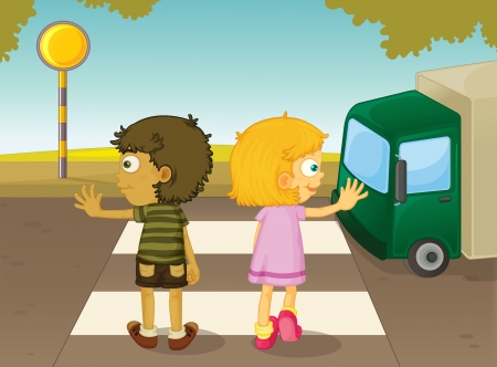crossing street: Illustration of boy and girl crossing the street