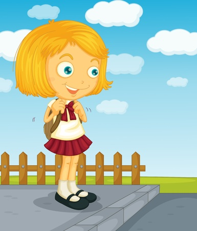 schoolyard: Illustration of a young girl going to school