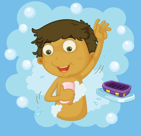 soaping: Illustration of a boy showering