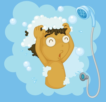 steam bath: Illustration of a boy shampooing
