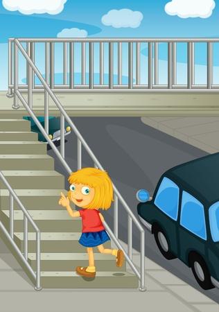 bajando escaleras: Ilustraci�n de una ni�a con puente