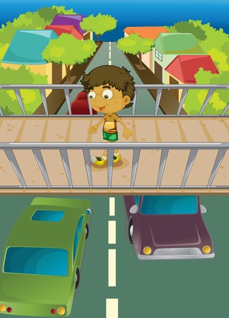 footbridge: Illustration of boy using overpass Illustration