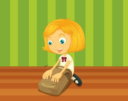getting ready: Girl packing bag for school