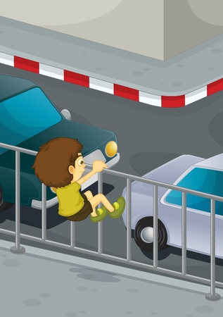 traffic accidents: Illustration of boy climbing onto road