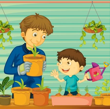 Illustratie van vader en zoon tuinieren Vector Illustratie