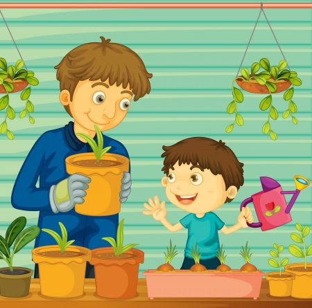 plant pot: Illustration of father and son gardening