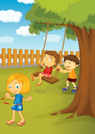 schoolyard: Illustration of kids playing in the park