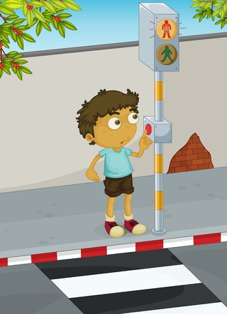 zebra crossing: Illustration of boy using a zebra crossing Illustration