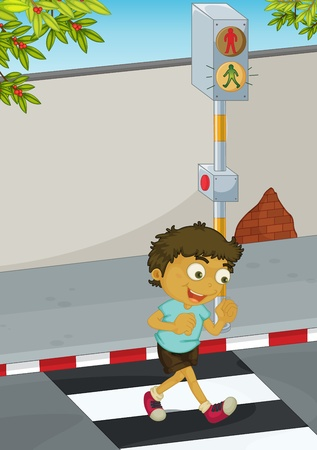 crossing street: Illustration of a boy crossing the road