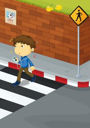 Illustratie van een jongen die de weg oversteken