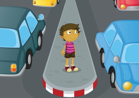 child safety: Illustration of a boy crossing the road
