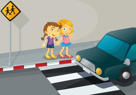 the crossing: Illustration of 2 girls crossing the street
