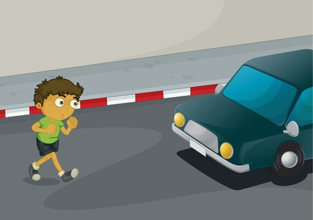 traffic accidents: Illustration of a boy crossing the road