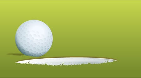 Illustration of golf ball near hole Vector