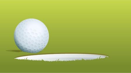 casi: Ilustraci�n de la pelota de golf cerca del agujero Vectores
