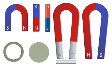 magnetismo: Illustrazione di un set di magneti