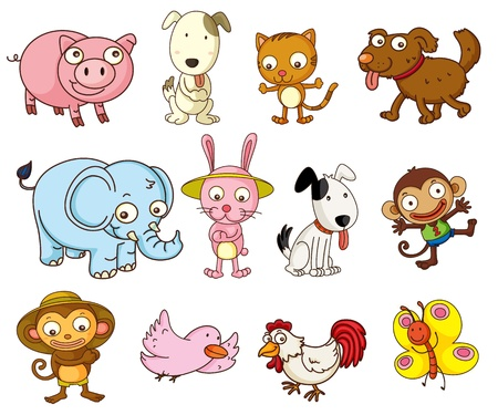 Illustration of cartoon animals on white Vector