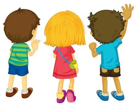 blonde hair cartoon: Illustration of 3 kids with backs facing Illustration